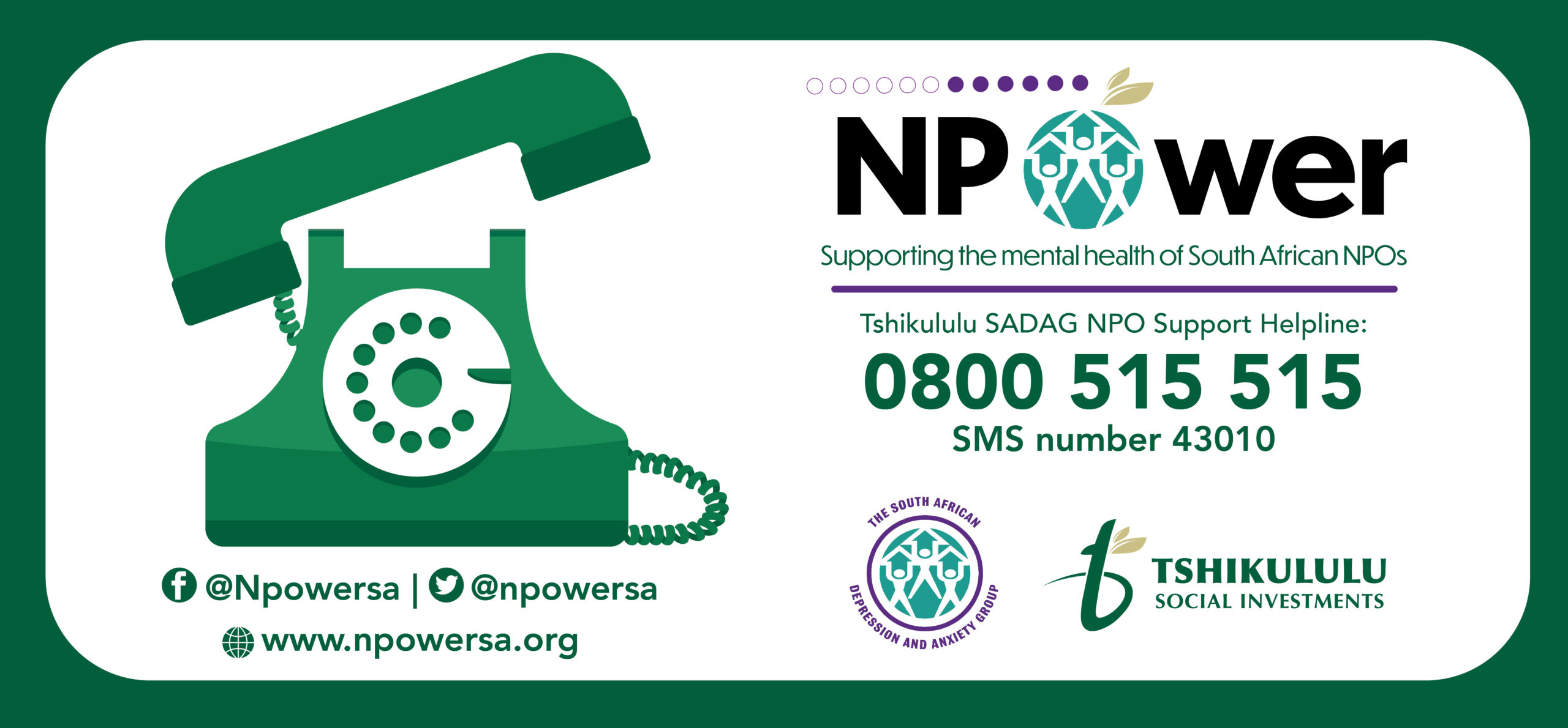 A first-of-its kind NPO Mental Health Support Programme and 24-hour toll-free Helpline to offer mental health care and support to all NPO's has been launched in South Africa.